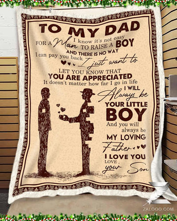 It's Not Easy For A Man To Raise A Boy Son Gift For Dad Father's Day Gift Blanket