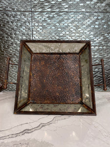 Large Brown/Metal Mirrored Tray