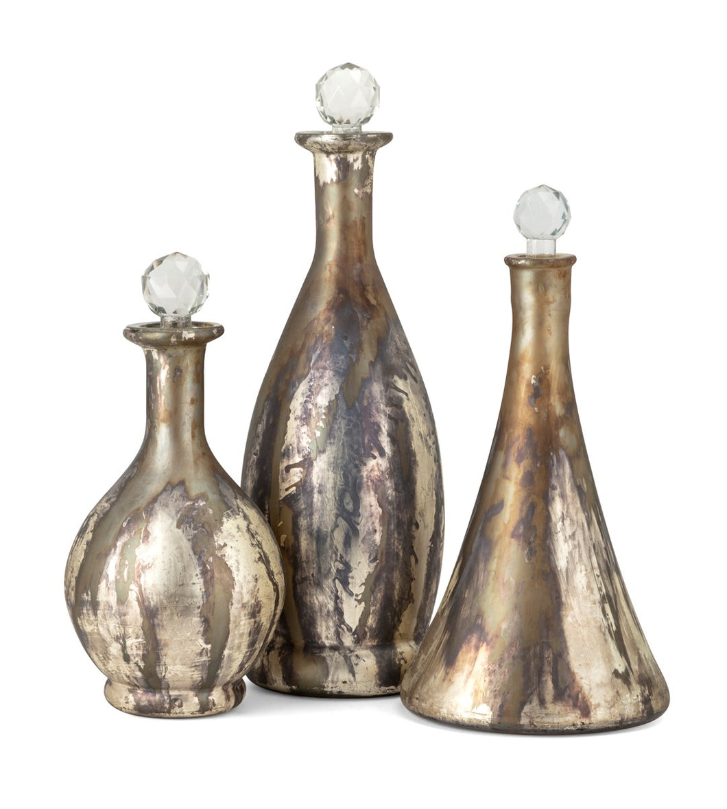 NK Dione Glass Bottles - Set of 3 - Small, medium, large