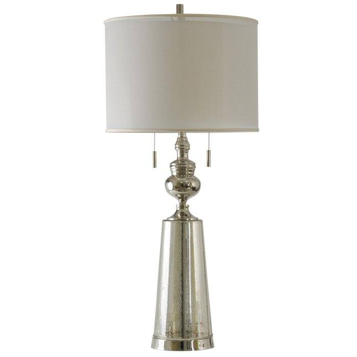Plated Glass w Nickel Accents Double Pull Chain with White Drum Shade