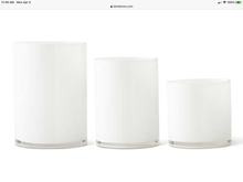 "Load image into Gallery viewer, White Glass Cylinder Vase 9.75""H x 7""Dia."