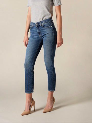 7 For All Mankind Roxanne Ankle Straight Jeans Mid Blue
