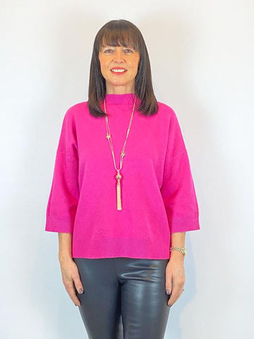 ACL Cropped Sleeve Knit Fuchsia
