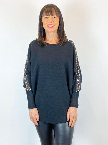 ACL Embellished Pearl Sleeve Knit Black