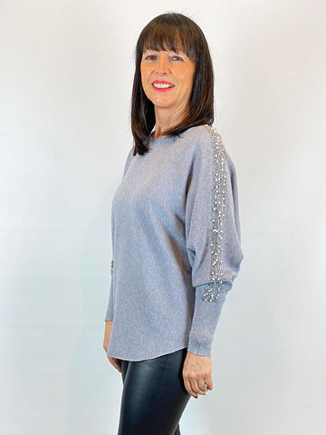 ACL Embellished Pearl Sleeve Knit Grey