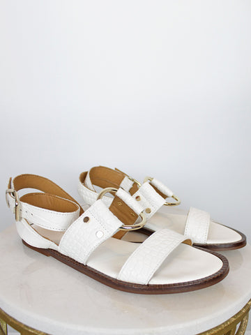 Alpe Leather Croc Sandals White