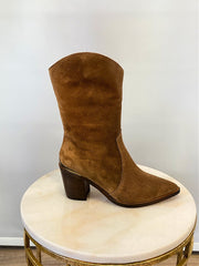 Alpe Mid Calf Suede Western Boot Tan