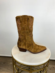 Alpe Mid Calf Western Suede Ankle Boots Tan