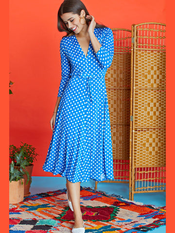 Onjenu Amy Dot Dress Blue