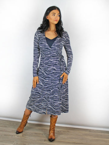 B Young Navy Wrap Dress