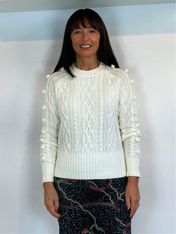 B Young Bymelissa Cabel Jumper Off White