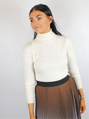 Berties White Cashmere Jumper Roll Neck