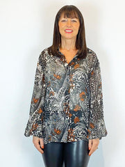 Blank Liyana Printed Shirt Black & Tan