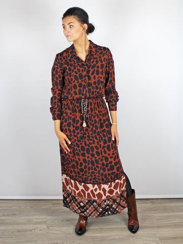 GIRAFFE PRINT SHIRT DRESS MULTI COLOURED BLANK LONDON