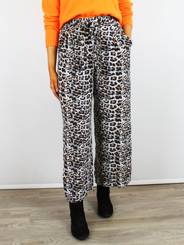 Blank London Wide Leg Pants Jeanne Leopard