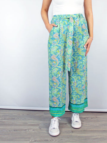 Blank London Wide Leg Trousers Turquoise Paisley