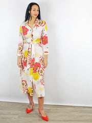 Charlotte Sparre Floral Shirt Dress Ivory