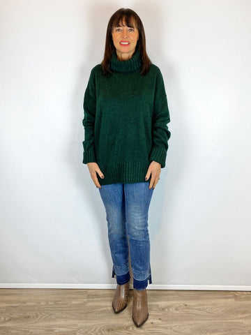 HF Chunky Roll Neck Knit Forest Green