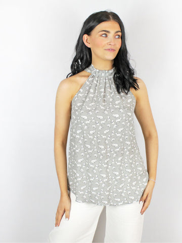 Conditions Apply Istania Grey Dog Print Top