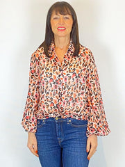 Conditions Apply Iyana Shirt Coral Leopard