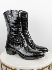 PONS QUINTANA COWBOY BOOTS BLACK LOW HEEL CROCODILE EFFECT
