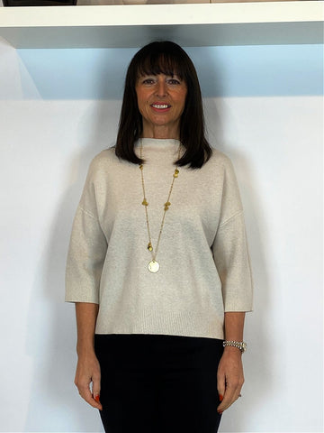 Cropped Sleeve Knit Oatmeal - ACL