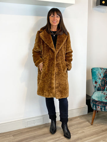Emme Marella Fieno Teddy Coat Tan