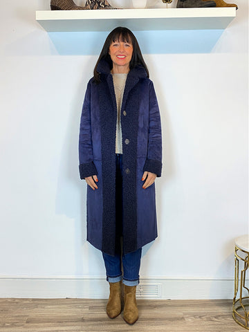 Emme Marella Reversible Boucle Coat Navy - Reversed