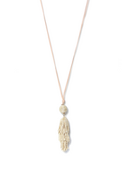 Envy Long Tassel Necklace Cream