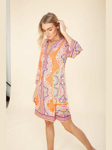 Hale Bob Signature Paisley Print Dress Orange