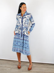 Hale Bob Shirt Dress Blue & Cream