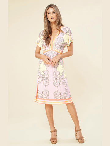 Hale Bob Swing Skirt Midi Dress Pink
