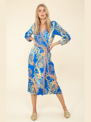 Hale Bob Wrap Dress Dress Blue