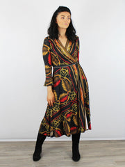 Hale Bob Black & Red Wrap Dress