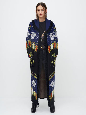 Hayley Menzies Drifters Long Knitted Coat Black & Navy