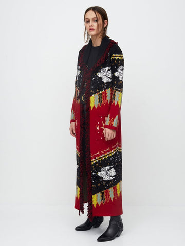 Hayley Menzies Drifters Long Knitted Coat Black & Red