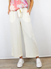 Wide Leg Culotte Trousers Cream
