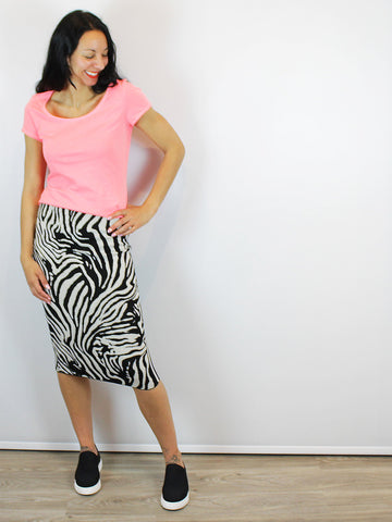 Oui Zebra Print Skirt In White & Black