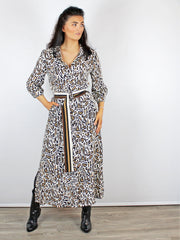 RIANI LEOPARD PRINT SHIRT DRESS CREAM
