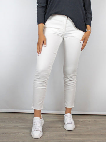Luisa Cerano Elastic Back White Trousers