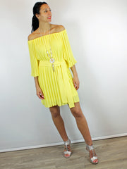 Access Pleated Dress Yellow