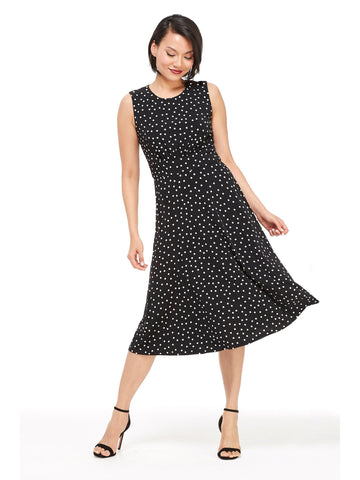 London Times Polka Dot Dress In Black & White