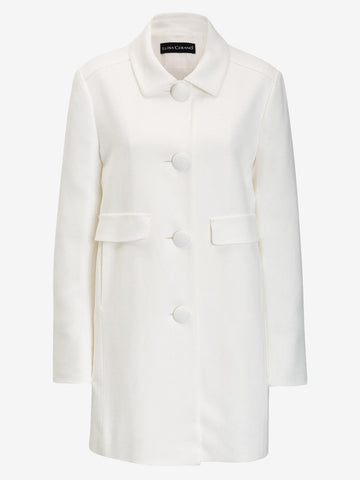 Luisa Cerano 60's Style Dress Coat White