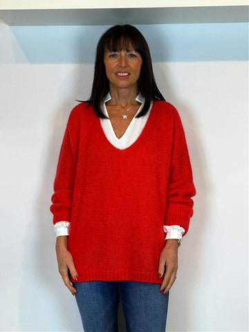 Mohair V-Neck Jumper Red - ACL