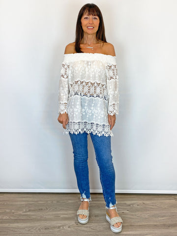 Off the Shoulder Lace Top White