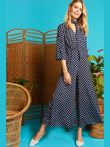 Onjenu Laurie Jumpsuit In Dot Navy