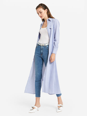 Ottod'Ame Long Shirt Dress Blue & White Stripe