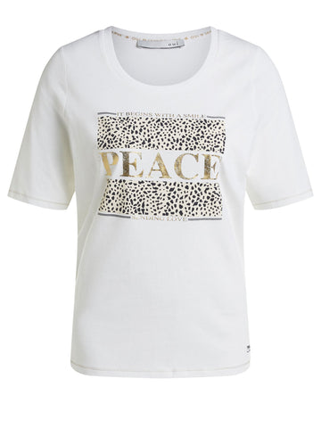Oui Printed 'Peace' T-Shirt White