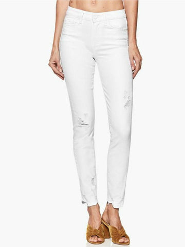 Paige Hoxton Ankle Peg Destructed Skinny Jeans Crisp White
