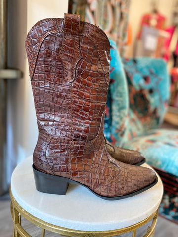 Pons Quintana Rosana Croc Western Boots Toffee